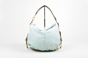 Giorgio Armani Mint Green Multi Brown Pebbled Leather Embossed Handle Hobo Bag