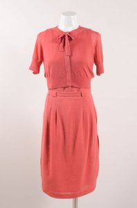 Akris Punto short dress Pink Red Wool Sl Belted With Ss Cropped Cardigan Sweater on Tradesy