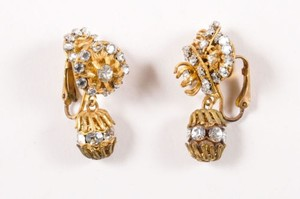 Miriam Haskell Vintage Miriam Haskell Gold Tone Rhinestone Embellished Drop Clip On Earrings