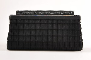 Judith Leiber Pleated Satin Rhinestone Accent Frame Black Clutch