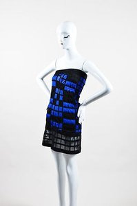 Chanel Blue Black Checkered Quilted Mesh Panel Strapless Dress