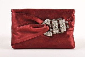 Judith Leiber Wine Embellished Buckle Satin Serena Red Clutch