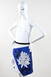 Andrew Gn Gn White Blue Black Silk Leather Floral Trim Beaded Skirt Multi-Color