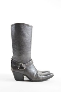 Prada Sport Crackled Leather Pointed Toe Harness Cowboy Gray Boots