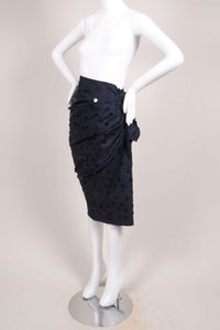 Lanvin Navy Blue Silk Skirt