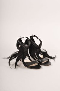 Camilla Skovgaard Black Leather Horsehair Ankle Strap Sandals
