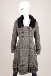 Louis Vuitton Gray Black Wool Tweed Fur Ruffle Long Sleeve Coat