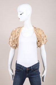 Cassin Beige Sequin Bead Faux Fur Embellished Crop Evening Shrug Jacket