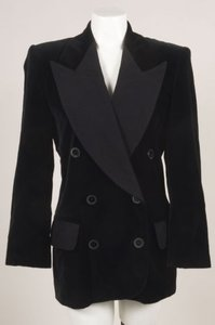 Escada Escada By Margaretha Ley Black Velvet Quilted Lapel Blazer Jacket