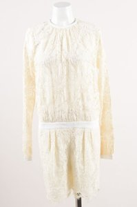 MSGM Lace Floral Sheer Bodice Ls Dress