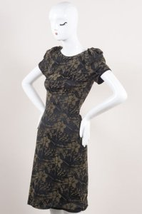 Zac Posen Taupe Brocade Floral Leopard Print 0 Dress