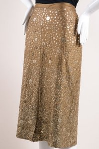 Dries van Noten Taupe Silk Tone Metal Sequin Pencil Skirt Gold