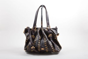 Burberry Dark Leather Metal Stitch Lowry Tote Handbag Shoulder Bag