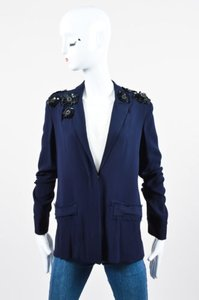 Marni Marni Navy Black Crepe Sequin Flower Embellished Blazer Jacket