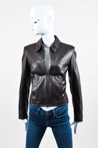 Piazza Sempione Leather Brown Jacket
