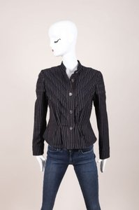 Chanel Navy Red Striped Peplum Button Down Jacket