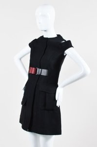 Victoria Beckham short dress Black Woven Frayed Belted Sleeveless Shift on Tradesy