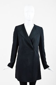 Akris Collarless Draped Lapel Ls Black Jacket