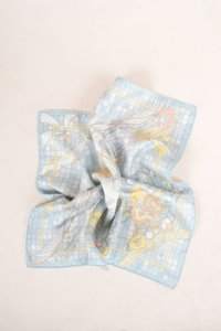 Hermès Hermes Blue Multicolor Silk Checkered Cherub Print Handkerchief Scarf