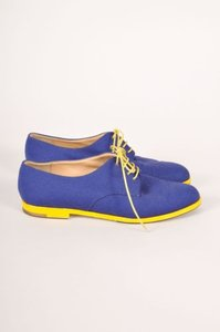 Manolo Blahnik Royal Blue Yellow Contrast Canvas Oxfords Flats