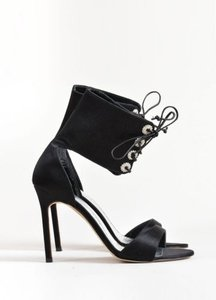 Manolo Blahnik Manolo Satin Rhinestone Lace Up Ankle Cuff Heels Black Sandals
