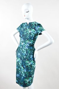 ERDEM Blue Green Arue Floral Palm Print Raisa Ss Sheath Dress