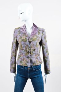 Etro Purple Green Wool Blend Multi-Color Jacket