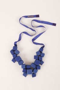 Piazza Sempione Piazza Sempione Cobalt Blue Fabric Cube Gem Cluster Ribbon Statement Necklace