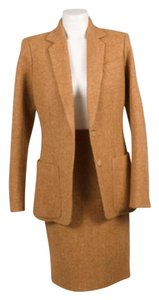 Herms Hermes Tan Herringbone Woolcashmere Jacket Pencil Skirt Suit