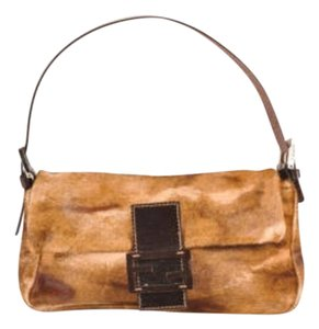 Fendi Brown Leather Fur Baguette Shoulder Bag