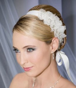 Blossom Organza Flowers & Crystals Bridal Headband