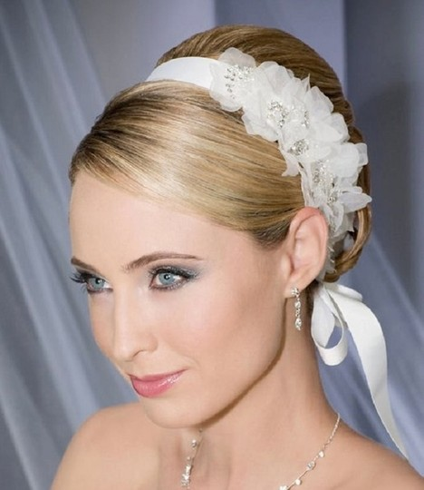 Ivory Blossom Organza Flowers Crystals Headband Hair Accessory Image 0