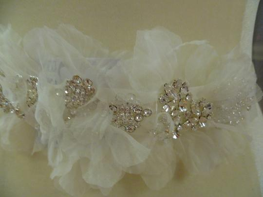 Ivory Blossom Organza Flowers Crystals Headband Hair Accessory Image 1