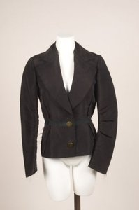 Lanvin Lanvin Black Silk Taffeta Frayed Pleated Long Sleeve Blazer Jacket