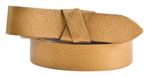 Lanvin Lanvin Bronze Gold Grain Leather Metallic Bow Tie Belt