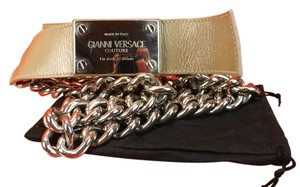 Versace NUDE LEATHER 2 CHAINS SILVER TONE BUCKLE BELT 85 34 $1050