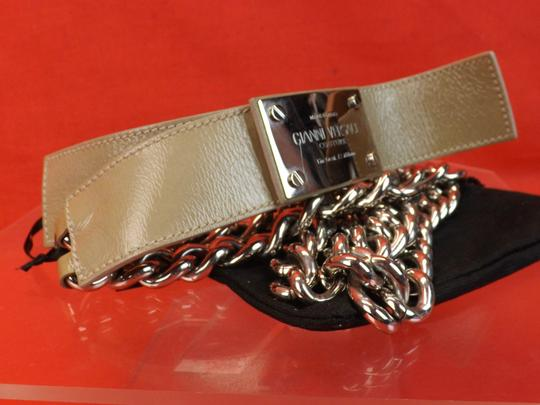 Versace NUDE LEATHER 2 CHAINS SILVER TONE BUCKLE BELT 85 34 $1050 Image 1