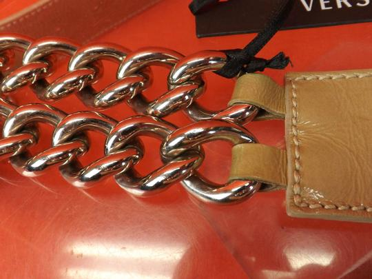 Versace NUDE LEATHER 2 CHAINS SILVER TONE BUCKLE BELT 85 34 $1050 Image 10
