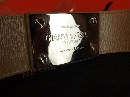 Versace NUDE LEATHER 2 CHAINS SILVER TONE BUCKLE BELT 85 34 $1050 Image 2