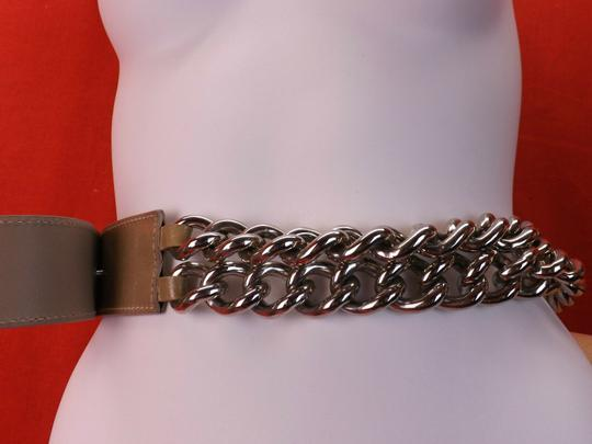Versace NUDE LEATHER 2 CHAINS SILVER TONE BUCKLE BELT 85 34 $1050 Image 3