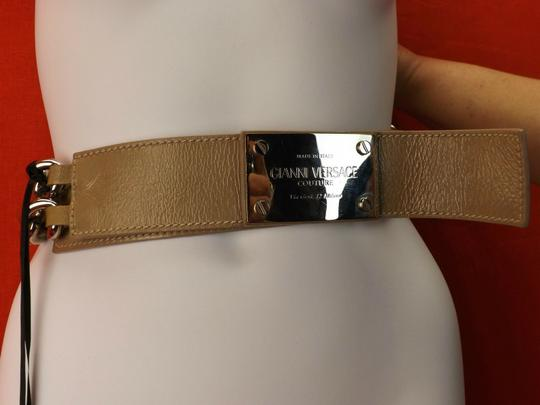 Versace NUDE LEATHER 2 CHAINS SILVER TONE BUCKLE BELT 85 34 $1050 Image 4