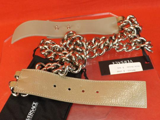 Versace NUDE LEATHER 2 CHAINS SILVER TONE BUCKLE BELT 85 34 $1050 Image 8