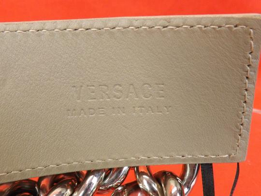 Versace NUDE LEATHER 2 CHAINS SILVER TONE BUCKLE BELT 85 34 $1050 Image 9