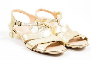Chanel Resort 2015 Metallic Leather Cross Ankle Strap Heel Gold Sandals