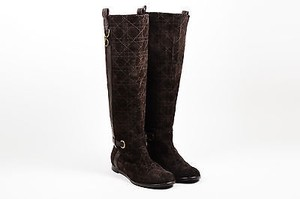Dior Christian Suede Cannage Flat Tall Brown Boots