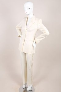 Versace Versace Cream Diamond Textured Wool Tuxedo Suit