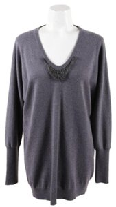 Brunello Cucinelli Cashmere Embellished Long Sleeve Sweater