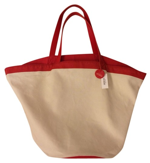 Kate Spade Red Canvas & Leather Round Beach Bag - Tradesy
