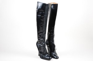 Saint Laurent Yves Leather High Chunky Heel Lace Up Knee High Black Boots