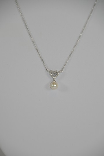 White Gold Heart Shape 0.12ct. Genuine Diamonds Fresh Water Pearl Drop Necklace